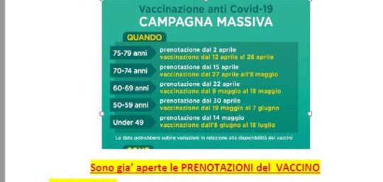 PRENOTAZIONE VACCINO ANTI COVID 19